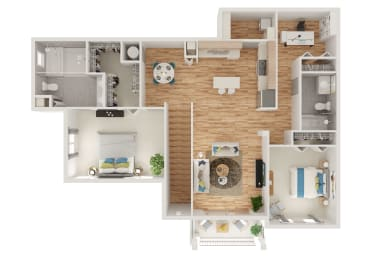 Floor Plan B3 2 Bed 2 Bath with Den and Attached Garage