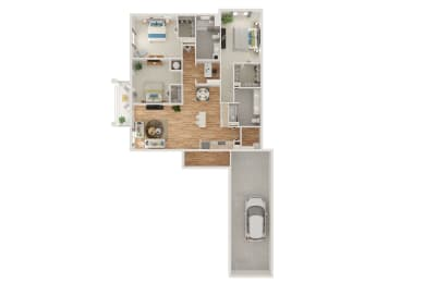 Floor Plan C1 3 Bed 2 Bath with Den and Attached Garage