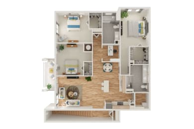 Floor Plan C2 3 Bed 2 Bath with Den and Attached Garage