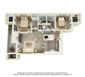 2 Bed, 2 Bath, 864 sq. ft. Cedar