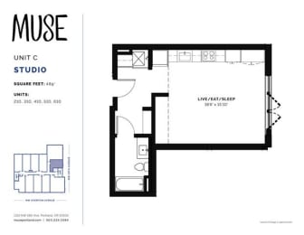 Studio, 489 sq. ft. Unit C floor plan