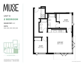 2 Bed, 2 Bath, 978 sq. ft. Unit D floor plan