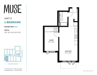 1 Bed, 1 Bath, 605 sq. ft. Unit E floor plan
