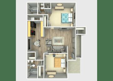 2 Bed, 2 Bath, 950 sq. ft. Rio Grande Floor Plan