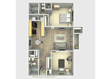 2 Bed, 2 Bath, 900 sq. ft. Rio Floor Plan
