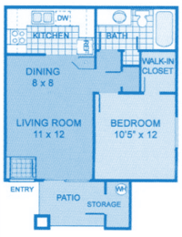Cantera 1A Floor Plan image showing layout of apartment. Bedroom and bath to the right, living room and kitchen to the left., opens a dialog