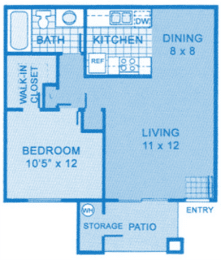 Cantera 1B Floor Plan image depicting layout of home. Kitchen, dining and living room on the right, bedroom and bathroom on the left., opens a dialog