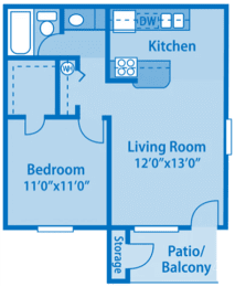 Canyon Creek 1C Floor Plan image depicting layout. Bedroom, closet and bathroom on the left. Patio, living room and kitchen on the right.
