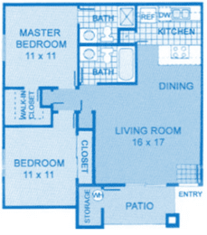 Cantera 2A Floor Plan image depicting layout. Master, bedroom, bathrooms on the left, living room and kitchen on the right., opens a dialog