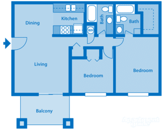 Catalina Canyon 2B Floor Plan Image depicting layout. Balcony, living room and kitchen on the left. Bedrooms and bathrooms on the right., opens a dialog