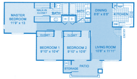 Cantera 3A Floor Plan image depicting layout. Master on left side, bedroom 1, bedroom 2 and bathrooms in the middle, with living room and kitchen on the right.
