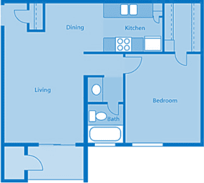 Rio Vista One Bedroom C Apartment Layout image., opens a dialog