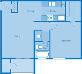 Rio Vista One Bedroom C Apartment Layout image.