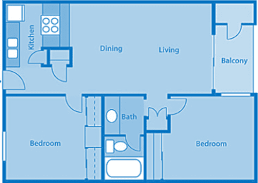 Rio Vista Two Bedroom E Apartment Layout image.