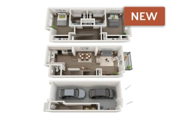 3d floorplan of 2 bedroom townhome at sawyer trail