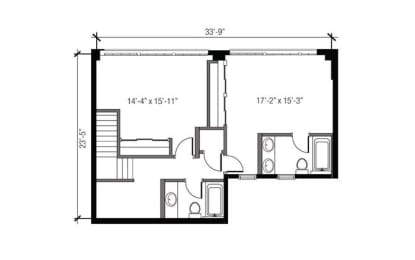 Floor Plan 1 x 1.5 TH R