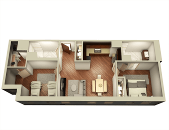2 Bed 2 Bath 987 sqft 3D Floor Plan at Somerset Place Apartments, Illinois