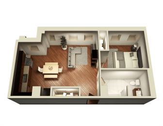 1 Bed 1 Bath 723 sq ft 3D Floor Plan at Somerset Place Apartments, Illinois, 60640