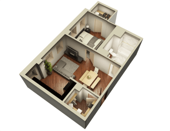 1 Bed 1 Bath 632 sqft 3D Floor Plan at Somerset Place Apartments, Chicago, 60640