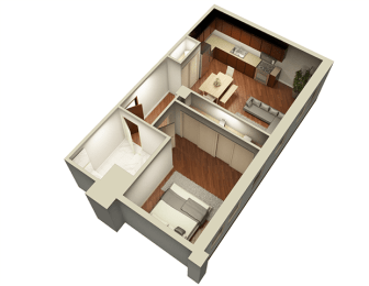 1 Bed 1 Bath 700 sqft 3D Floor Plan at Somerset Place Apartments, Chicago