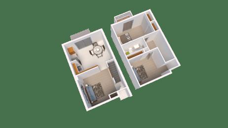 One Bedroom Townhome Floor Plan at Arbor Pointe Townhomes Battle Creek, MI