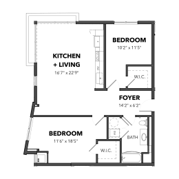 Bakery Living Two Bedroom 2, apartments in Pittsburgh, Pennsylvania 15206