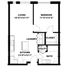 Hot Metal Flats A1 floorplan, Hot Metal Flats apartments, Pittsburgh, PA