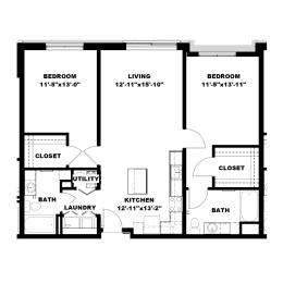 Hot Metal Flats B1 Floorplan, Hot Metal Flats apartments, Pittsburgh, PA