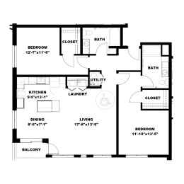 Hot Metal Flats B3-A floorplan, Hot Metal Flats apartments, Pittsburgh, PA
