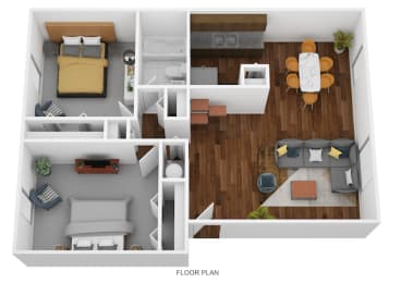 2 Bed Garden - South Floor Plan at Coldwater Flats, Evansville, IN