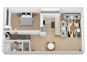 The Davinci One Bed One Bath Floor Plan at Renaissance at the Power Building, Cincinnati, 45202
