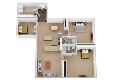 The Florence Three Bed Two Bath Floor Plan at Renaissance at the Power Building, Cincinnati, OH