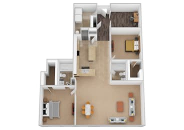 The Madrid Two Bed Two Bath Floor Plan at Renaissance at the Power Building, Cincinnati, Ohio