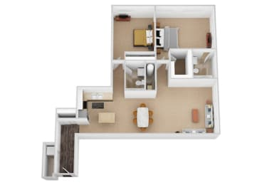 The Michaelangelo Two Bed Two Bath Floor Plan at Renaissance at the Power Building, Cincinnati, 45202