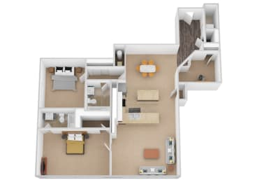 The Naples Two Bed Two Bath Floor Plan at Renaissance at the Power Building, Cincinnati, Ohio