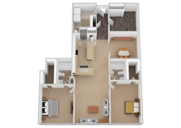 The Vienna Two Bed Two Bath Floor Plan at Renaissance at the Power Building, Cincinnati, OH