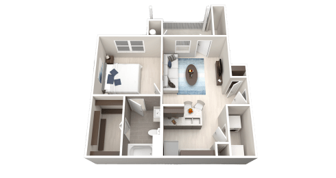 A1 Floor Plan at Ethos Apartments, Austin, Texas