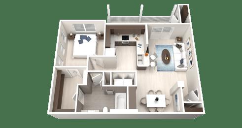 A2 Floor Plan at Ethos Apartments, Austin