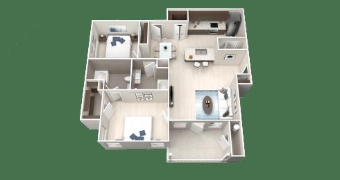 B2 Floor Plan at Ethos Apartments, Austin, TX