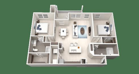 B6 Floor Plan at Ethos Apartments, Texas