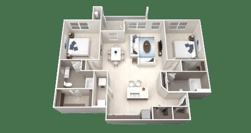 B9 Floor Plan at Ethos Apartments, Austin, TX