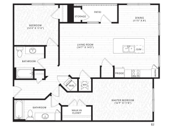 B2 Floor Plan at The Darby, Holly Springs, GA