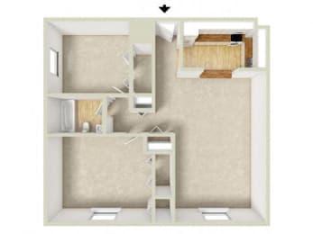 Floor Plan Midrise-Two Bedroom,One Bath