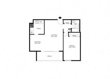 Floor Plan Hi-Rise 1 Bed, 1 Bath