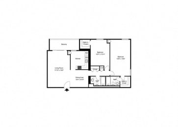 Floor Plan Mid-Rise 2 Bed, 2 Bath