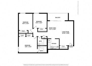 Floor Plan Mid-Rise 3 Bed, 2 Bath
