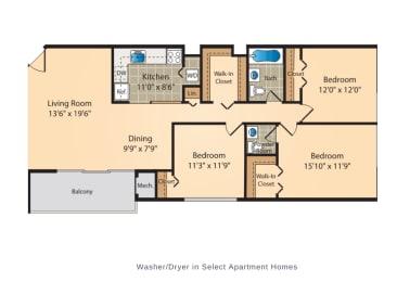 Floor Plan Three Bedroom One-and-a-Half Bath