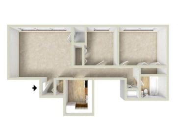 Floor Plan Garden - Two Bedroom, One Bath