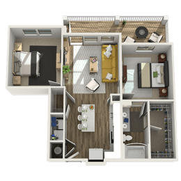 Floor Plan A5 - One Bed - One Bath - One Study, opens a dialog