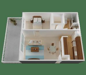 One-Bedroom, One-Bath Floorplan in San Jose, CA 95122